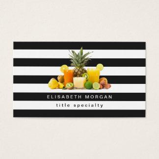 Pineapple Kiwi Fruits Juice - Black White Stripes Business Card