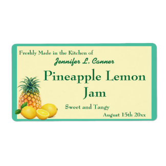 Pineapple Lemon Jam Preserves Canning Jar Shipping Label