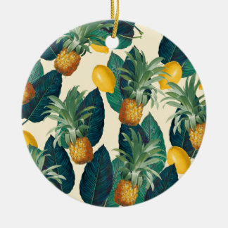 pineapple lemons yellow ceramic ornament