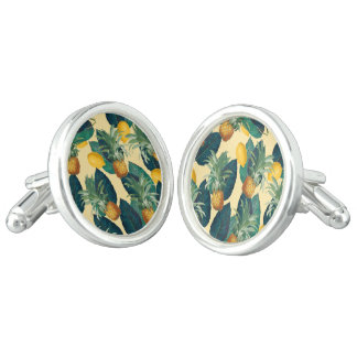 pineapple lemons yellow cufflinks