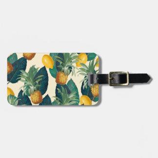 pineapple lemons yellow luggage tag