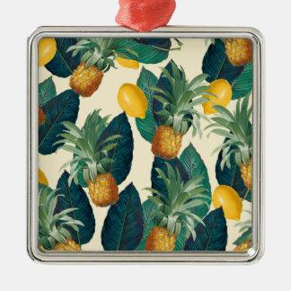 pineapple lemons yellow metal ornament