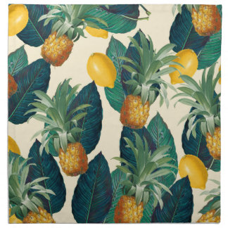 pineapple lemons yellow napkin