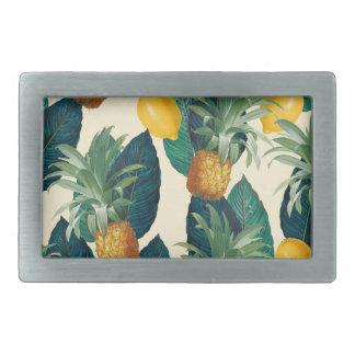 pineapple lemons yellow rectangular belt buckle
