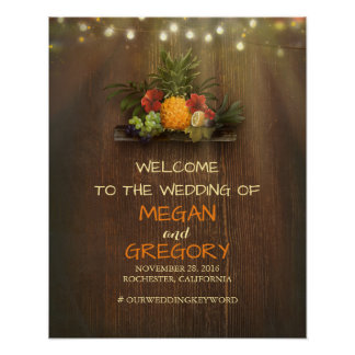 Pineapple Luau Beach Lights Wedding Welcome Sign