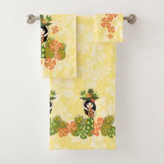 Pineapple Luau Hawaiian Hula Girl Coordinate-Lemon Bath Towel Set