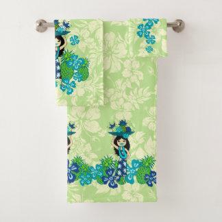 Pineapple Luau Hawaiian Hula Girl Coordinate- Lime Bath Towel Set