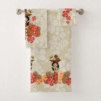 Pineapple Luau Hawaiian Hula Girl Coordinate- Tan Bath Towel Set