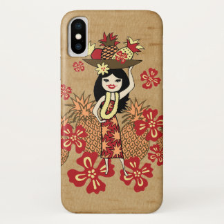 Pineapple Luau Hawaiian Hula Girl Faux Wood iPhone X Case