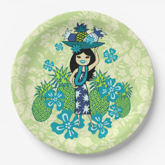 Pineapple Luau Hawaiian Hula Girl Paper Plate