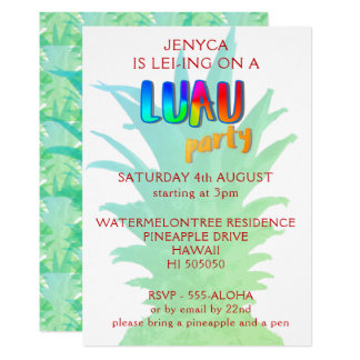 Pineapple Luau Party Invitation