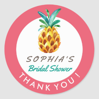 Pineapple Luau Tropical Shower Thank You Sticker