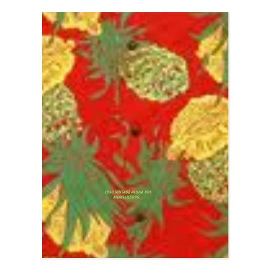 Pineapple Mainia (Vintage Aloha Print) Postcard