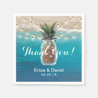 Pineapple Mason Jar Tropical Beach Wedding Disposable Napkins