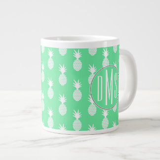 Pineapple Mint Pattern | Monogram Large Coffee Mug