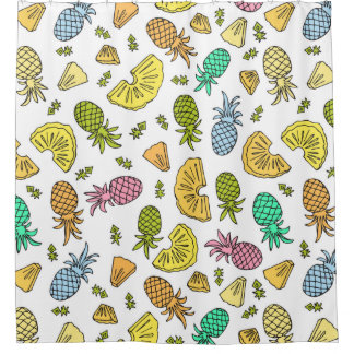 Pineapple Mix On White - Shower Curtain