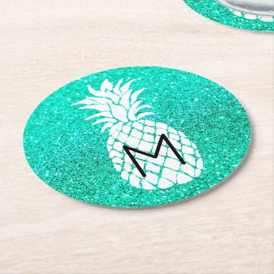 pineapple monogram on faux teal glitter round paper coaster