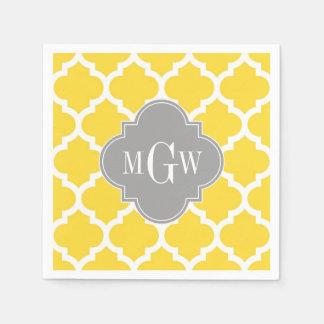 Pineapple Moroccan #5 Dk Gray 3 Initial Monogram Disposable Napkins