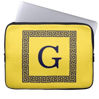 Pineapple, Navy Blue Greek Key #1 Framed Monogram Laptop Sleeve