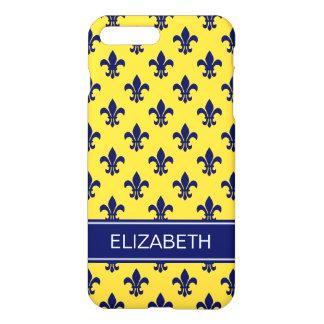 Pineapple Navy Fleur de Lis Navy Name Monogram iPhone 7 Plus Case