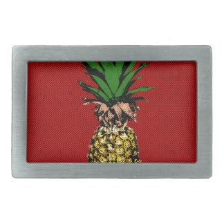 Pineapple Newsprint Image Belt Buckle