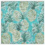 PINEAPPLE O'CLOCK Tropical Whimsical Watercolor Fabric