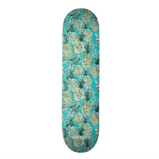 PINEAPPLE O'CLOCK Tropical Whimsical Watercolor Skate Board Deck