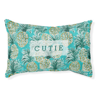 PINEAPPLE O'CLOCK Tropical Whimsical Watercolor Small Dog Bed