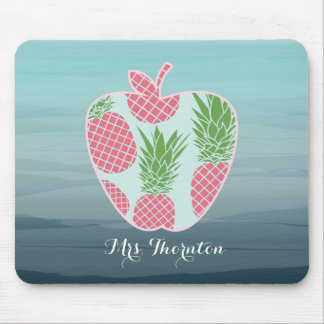 Pineapple Ombre Apple Personalized Teacher Mouse Pad
