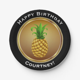 Pineapple on Faux Gold Happy Birthday with Name Paper Plate