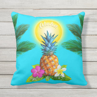 Pineapple Outdoor Pillow, Customize COLORS, TEXT Outdoor Pillow