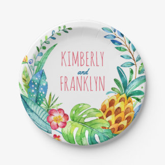 pineapple palms tropical beach party paper plate