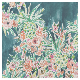 PINEAPPLE PARTY Lush Tropical Boho Floral Fabric