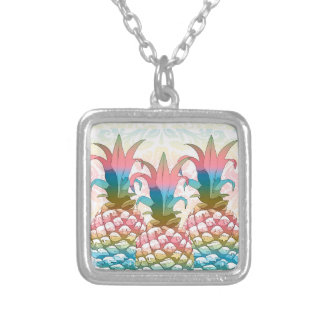 Pineapple Pastel Gradient ID246 Silver Plated Necklace