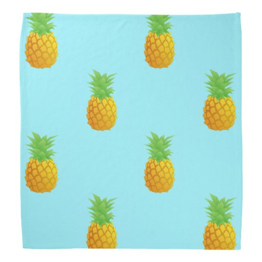Pineapple Pattern on Blue Bandanas