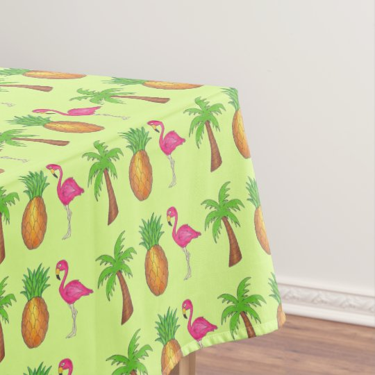 Pineapple Pink Flamingo Palm Tree Tropical Print Tablecloth