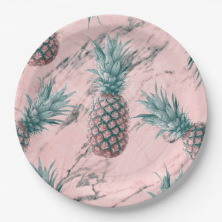 Pineapple Pink Marble Swirl Modern Party Paper Plate