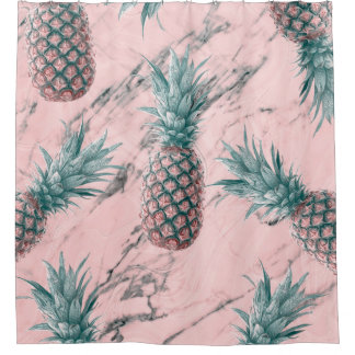 Pineapple & Pink Marble Swirl Modern Tropical Chic