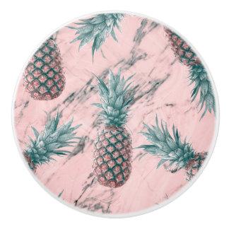 Pineapple & Pink Marble Swirl Modern Tropical Chic Ceramic Knob