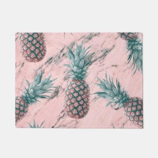 Pineapple & Pink Marble Swirl Modern Tropical Chic Doormat