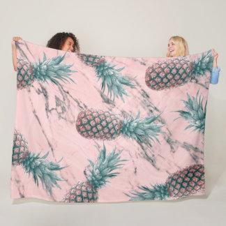 Pineapple & Pink Marble Swirl Modern Tropical Chic Fleece Blanket