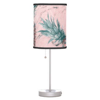 Pineapple & Pink Marble Swirl Modern Tropical Chic Table Lamp