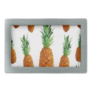 pineapple print polygonal pattern rectangular belt buckle