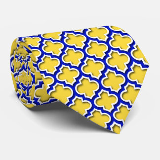 Pineapple Royal Blue Wht Moroccan Quatrefoil #5DS Tie
