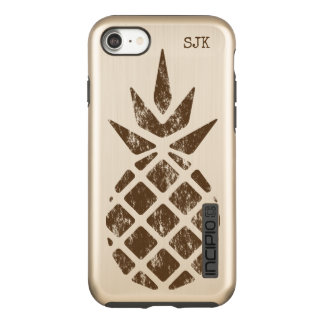 Pineapple Rubber Stamp, Brown, Personalize Option Incipio DualPro Shine iPhone 8/7 Case