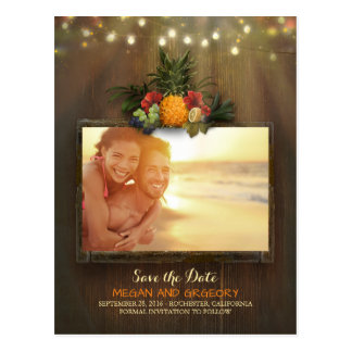 Pineapple Rustic Beach Lights Photo Save the Date Postcard