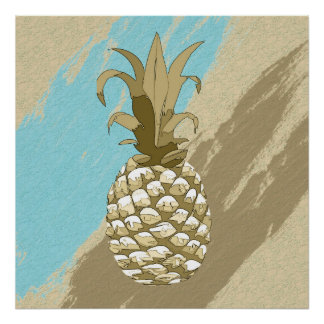 Pineapple Shadow Gold and Blue ID239 Poster