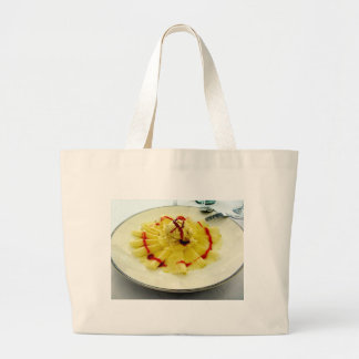 Pineapple slices with vanilla ice cream large tote bag