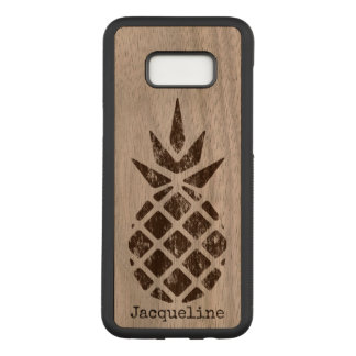 Pineapple Stamp Art, Brown, Personalize Option Carved Samsung Galaxy S8+ Case