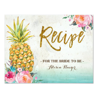 Pineapple Summer Tropical Beach Recipe Card
